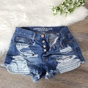 American Eagle Hi Rise Destroyed Jean Shorts 00